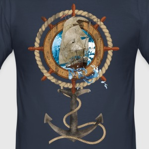 Roer met Sailing Ship and Anchor - slim fit T-shirt