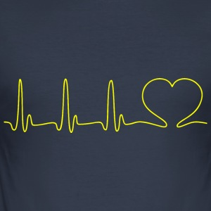EKG HEART LINE Heart Love gul - Slim Fit T-shirt herr