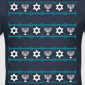 jewish hanukkah Chrisnukkah light Chandelier rating m - Men's Slim Fit T-Shirt