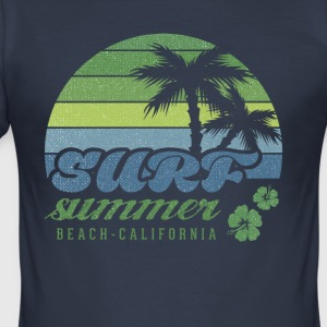 Surf Summer Beach Kalifornien T-shirt - Slim Fit T-shirt herr