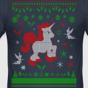 Einhorn Ugly Christmas - Männer Slim Fit T-Shirt