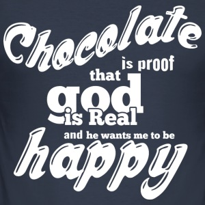 CHOCOLATE IS PROOF white - Men's Slim Fit T-Shirt