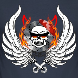 Skull Wings Flames horn kolbe briller - Herre Slim Fit T-Shirt