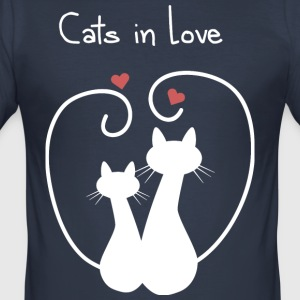 Cats in Love - Herre Slim Fit T-Shirt