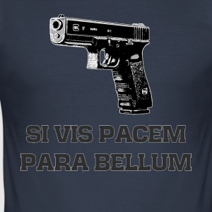 9mm pistol latin motto Si Vis Pacem Para Bellum - Men's Slim Fit T-Shirt