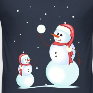 Santa, snowman, playing his son - Men's Slim Fit T-Shirt