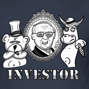 Bear and bull with Warren Buffet - real investors - Men's Slim Fit T-Shirt