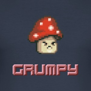 Pixel Grumpy Mushroom - Men's Slim Fit T-Shirt