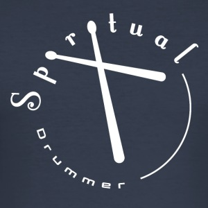 Spiritual Drummer Logo No. 2 White - Men's Slim Fit T-Shirt