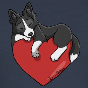 Border Collie Black Heart - Slim Fit T-shirt herr