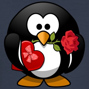 Valentine Penguin med Rose - Slim Fit T-skjorte for menn