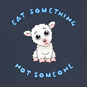 Eat something - Blå text - Slim Fit T-shirt herr