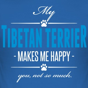 My Tibetan Terrier makes me happy - Men's Slim Fit T-Shirt