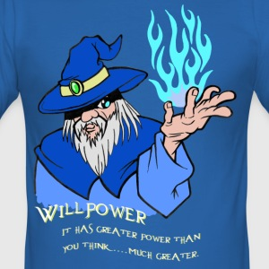 Willpower Blue Wizard / Light Blue Flame - Tee shirt près du corps Homme