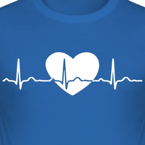 ECG HEART LINE white - Men's Slim Fit T-Shirt