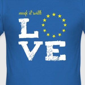 made it with love EU europe baby birth taufe star - Männer Slim Fit T-Shirt