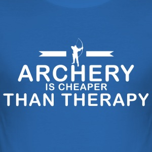 Archery is cheaper than therapy - Männer Slim Fit T-Shirt