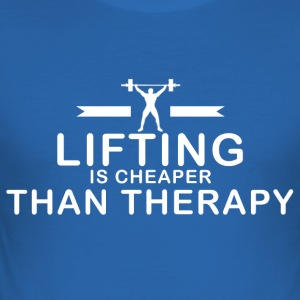 Lifting is cheaper than therapy - Männer Slim Fit T-Shirt
