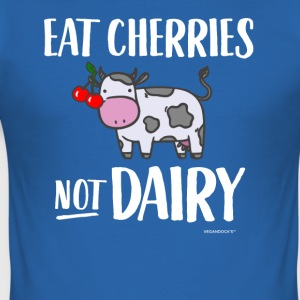 Eat Cherries Not Dairy - Männer Slim Fit T-Shirt