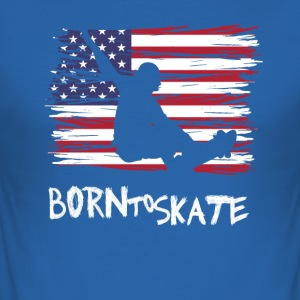 Skateboard USA Flag Amerika Skate sport hipster - Slim Fit T-skjorte for menn