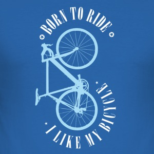 Born To Bike Bicycle Road MTB BMX bicycle blue - Men's Slim Fit T-Shirt