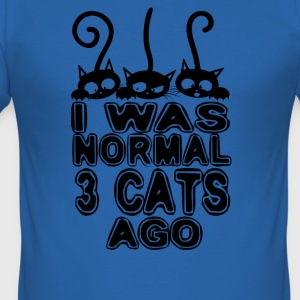 I was normal 3 cats ago - Men's Slim Fit T-Shirt