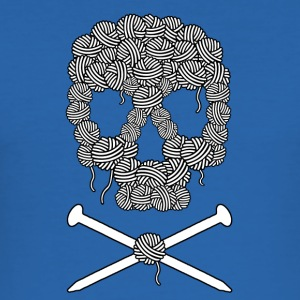 Knitters Pirate Skull and cross bones - Men's Slim Fit T-Shirt