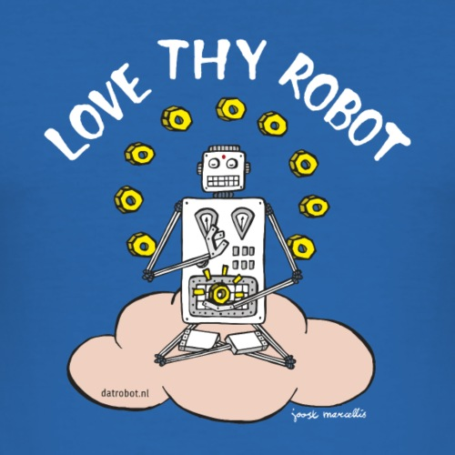 Dat Robot: Love Thy Robot Buddha Dark - Mannen slim fit T-shirt