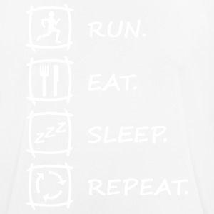"Logo ""RUN EAT SLEEP REPEAT"" en blanc - T-shirt respirant Homme"