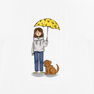 Girl with dog in rain - Men's Breathable T-Shirt