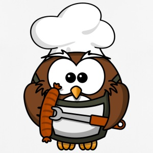Owl on grill with food comic style - Men's Breathable T-Shirt