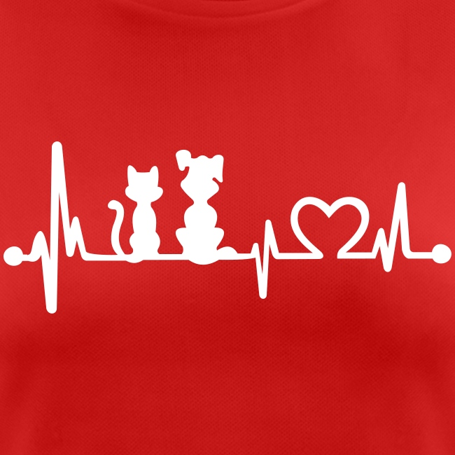 Vorschau: dog cat heartbeat - Frauen T-Shirt atmungsaktiv
