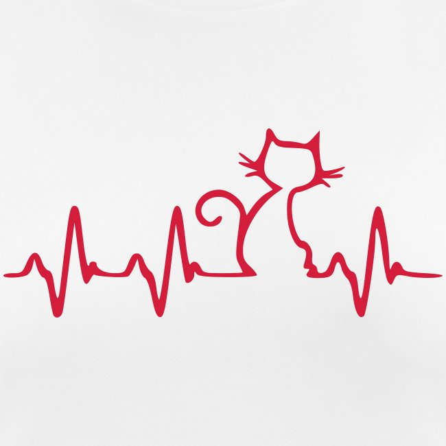 Cat Heartbeat - Frauen T-Shirt atmungsaktiv