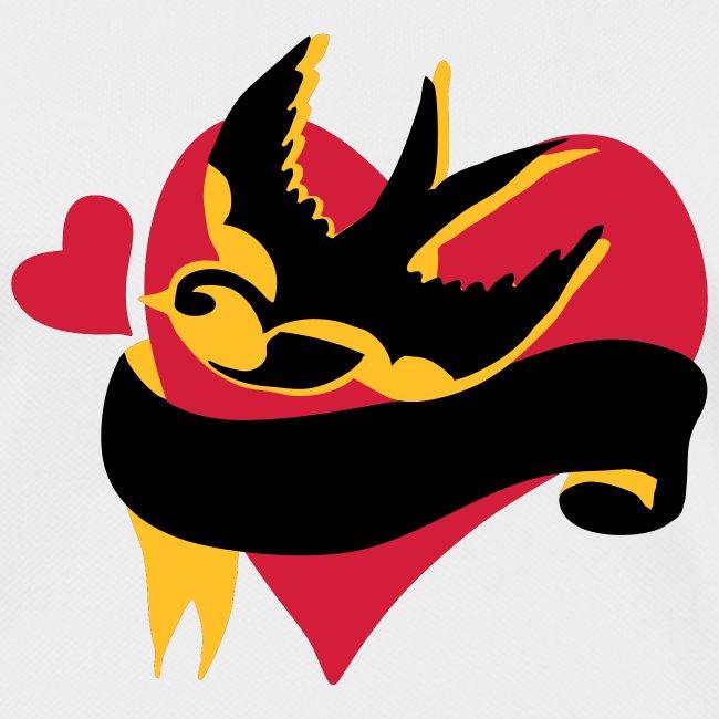retro tattoo bird with heart