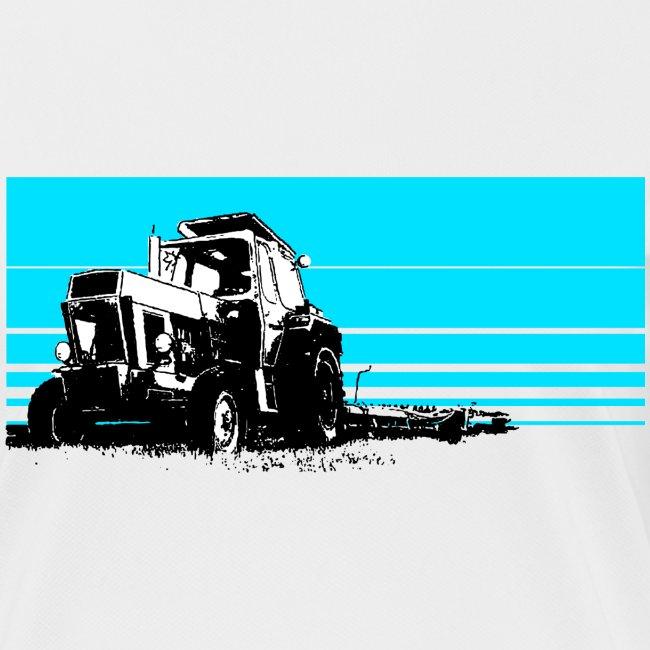 Sunset tractor cyan