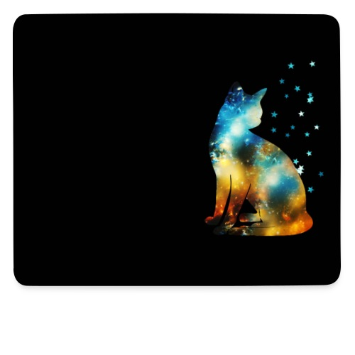 Katze, Sterne, Weltraum, Kosmos, Galaxie, Space - Mousepad (Querformat)