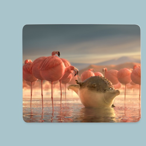Rollin'Wild - crocodile and flamingos - Mouse Pad (horizontal)