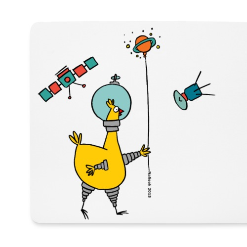 space chicken with ballon - Mouse Pad (horizontal)