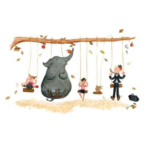 Schaukeln mit Elefant - Mousepad (Querformat)