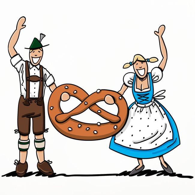 Bayrisches Paar mit Riesenbrezel