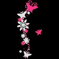 Ranke mit Schmetterlingen & Blumen