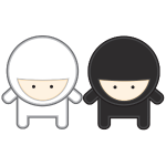 weiß und schwarz ninja