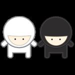 white and black ninja