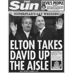 Elton Takes David Up The Aisle FP BW