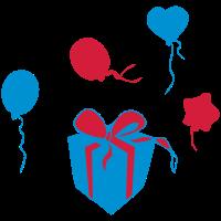 Ballons, Geschenk, Party