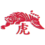 3d tiger metal symbol orange