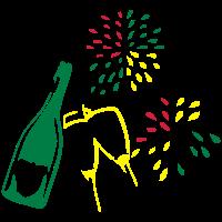 Sekt, Gläser, Feuerwerk, Feier