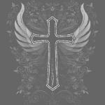 Kreuz mit Flügel und Blumen Verzierung