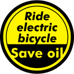 Ride electric bicycle Save oil © by TOSKIO-VTMS