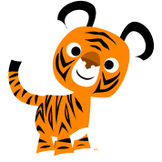 Hello!! Cute Cartoon Tiger by Cheerful Madness!!